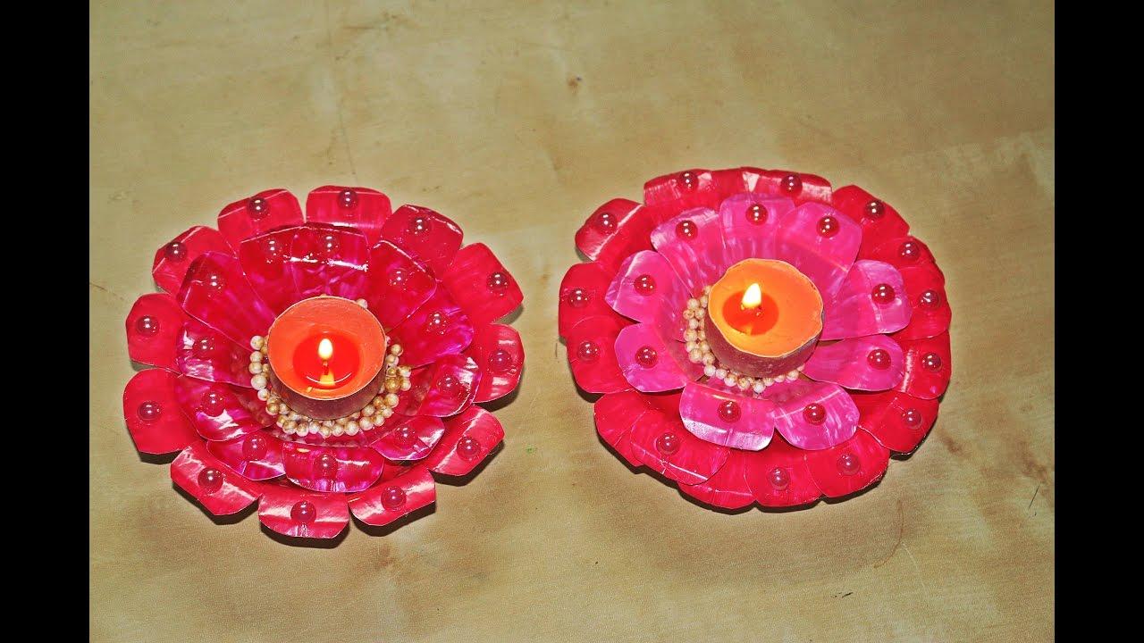 Recycled Diy Diya Candle Decoration Made Of Paper Plates Diwali Christmas Decor You