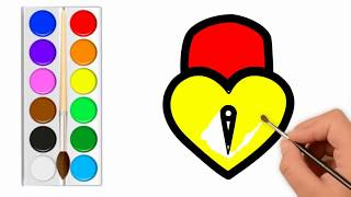 Draw Heart And Star || Heart and Star Coloring Pages || kids colorLeanVideos