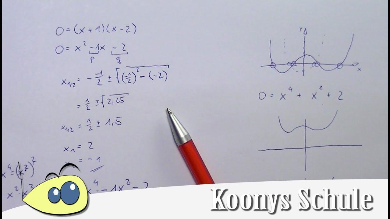 biquadratische Gleichung mit Substitution vorgerechnet und erklärt ...