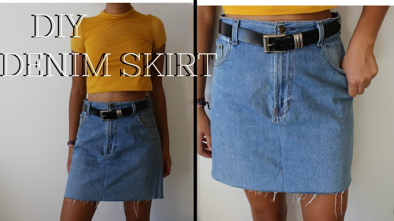 e0900db52e DIY: Denim Skirt from Oversized Jeans - YouTube