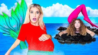 24 Hours PREGNANT as a MERMAiD with Sofie Dossi! (Worst Pregnancy Challenge) | Rebecca Zamolo