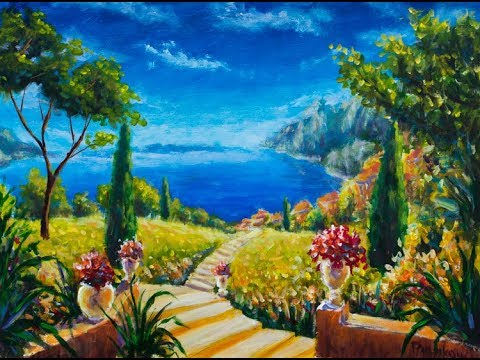 P2. Painting walls with acrylic paints master class. How to paint italian landscape on wall. Rybakow