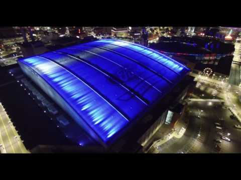 Stunning Aerial View Downtown Detroit at Night in 4K - DJI P3 Pro Drone