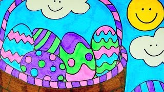 How To Draw An Easter Egg Basket | Kids Coloring Video