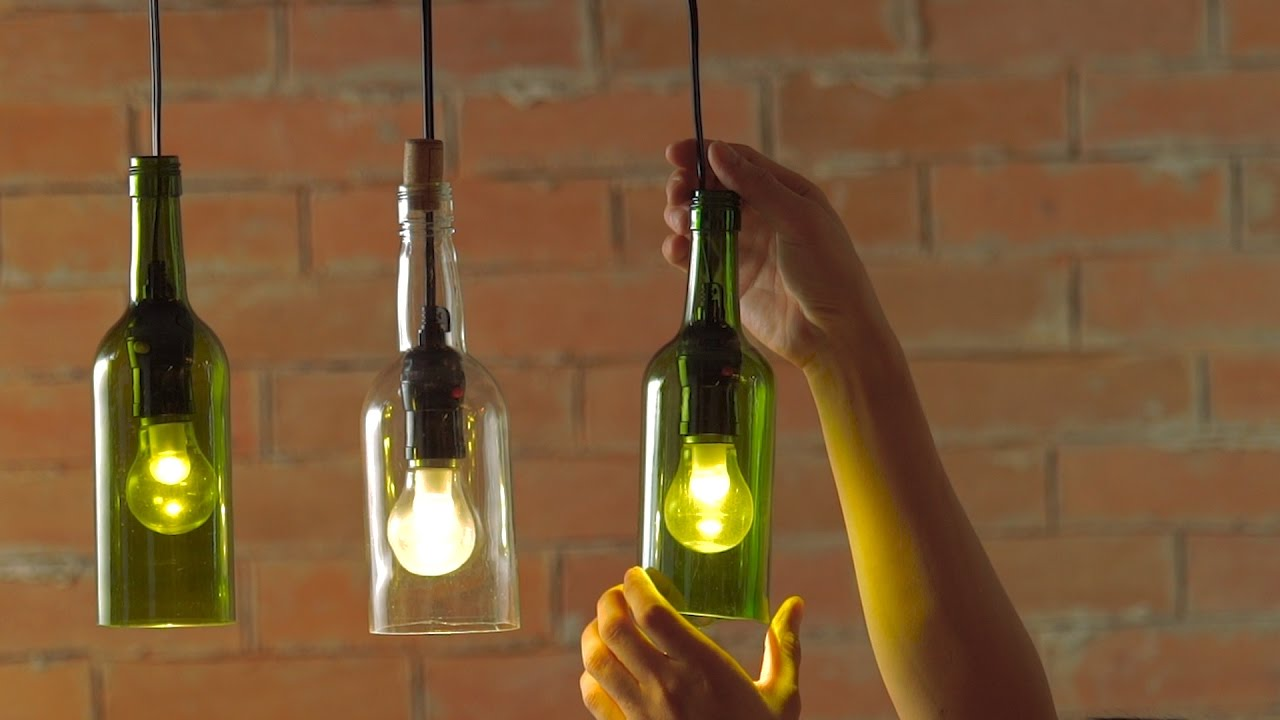 glass bottle lighting outdoor diy hanging wine bottle pendants youtube