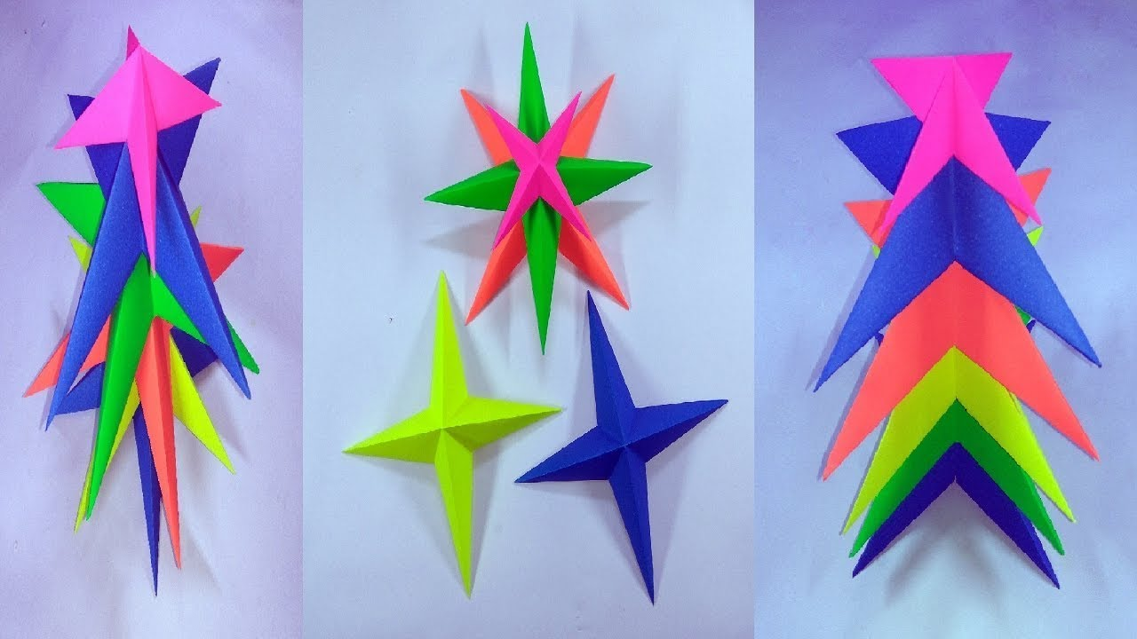 Easy paper craft christmas tree from 3d paper star youtube for How to make 3d paper stars easy