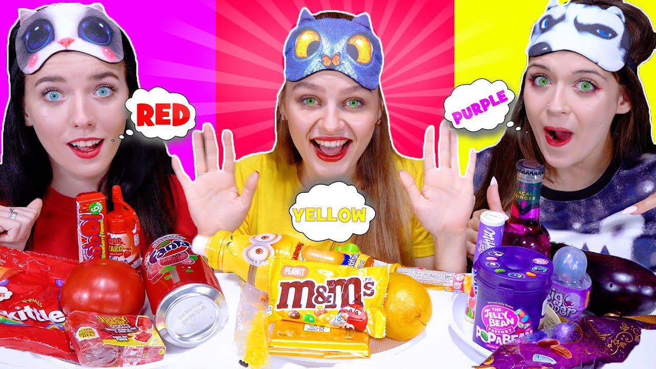 ASMR Eating Only One Color Food Purple, Red and Yellow Candy Race By LiLiBu