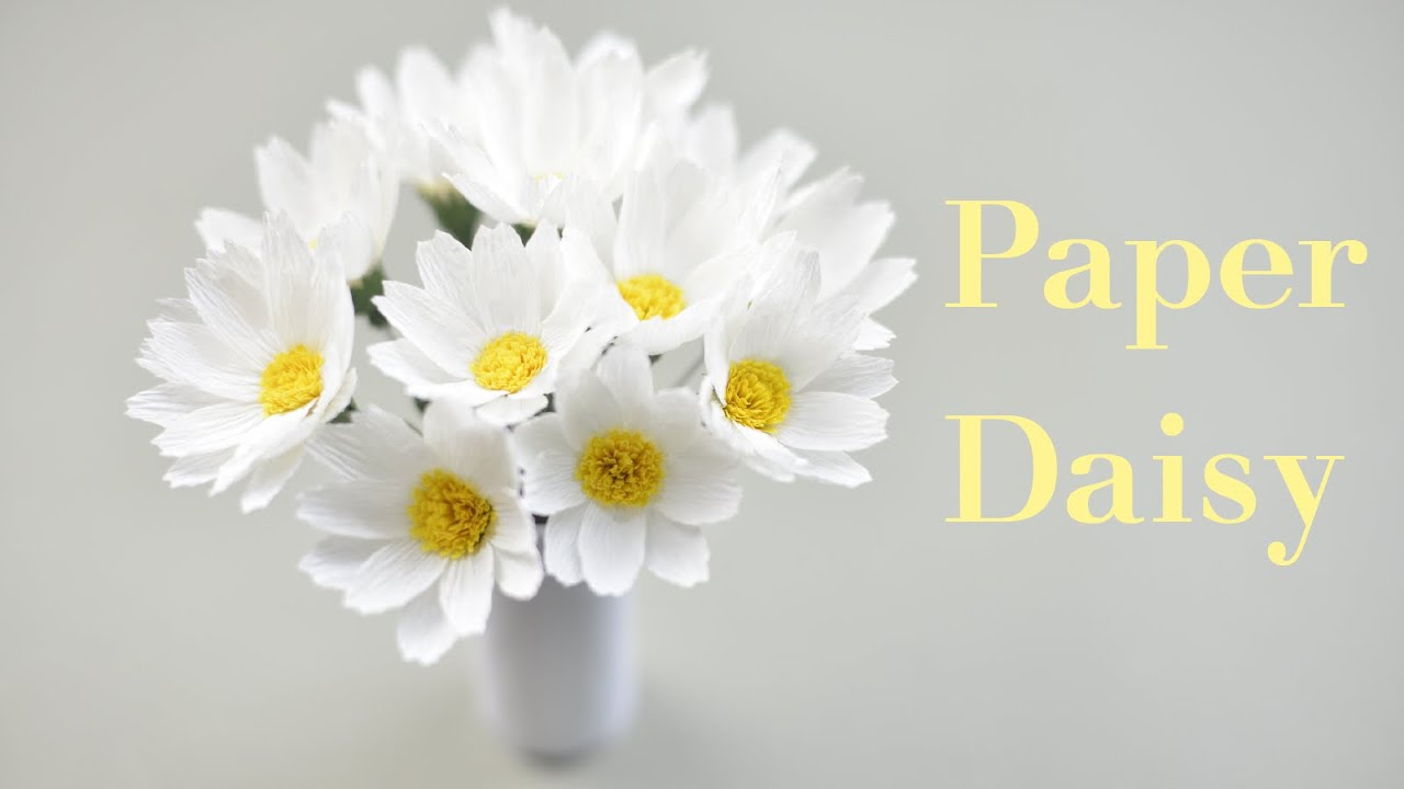 Crepe Paper Daisy Tutorial Paper Flower Creative Diy Youtube