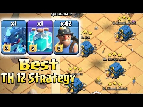 Best TH12 Stratyge 2018! 42 Miner Clone Spell With Electro Battle Blimp Easy Destroy Th12 Max Base