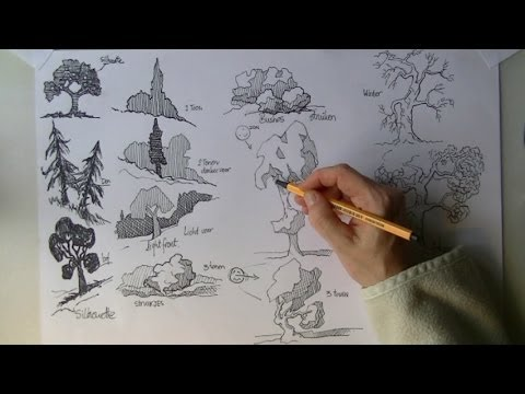 How to draw TREES and landscape - easy tutorial for beginners