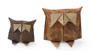 Simple origami Owl. Paper bird making