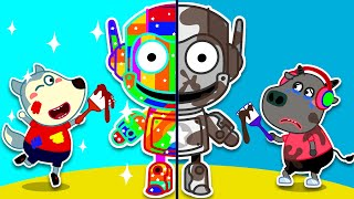 Wolf family | Wolfoo Plays in Coloring Challenge with Robot Toys