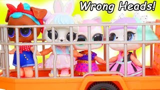 LOL Surprise Dolls + Lil Sisters Wrong Heads at Playmobil Animal Safari Playset - Toy Wave 2 Video