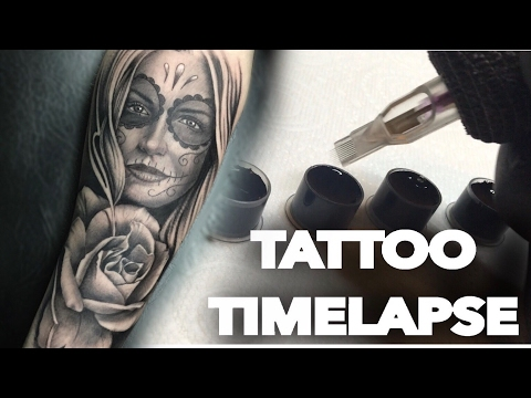 TATTOO TIME LAPSE / REALISTIC ROSE  DAY OF THE DEAD PORTRAIT