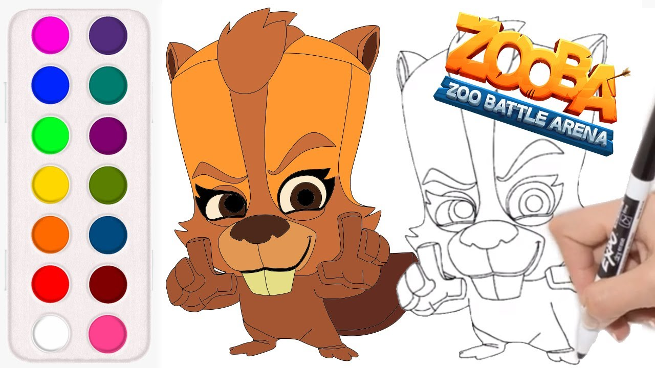 How To Draw And Color New Character Betsy Beaver From Zooba Zooba Betsy Youtube