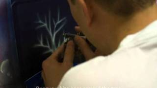 How to airbrush a snow theme card