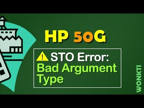 HP 50G, Guía Rápida (Quick Tips): Store Error, Bad Argument Type