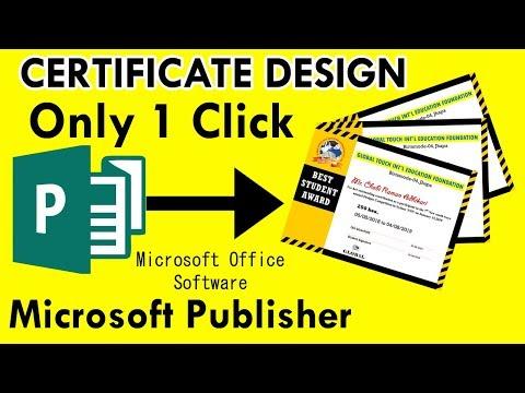 One Click Certificate Design In Microsoft Publisher || How To Make Certificate Design 2019
