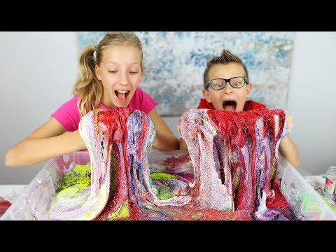 100 Layers of Glitter in Fluffy Slime!!!!