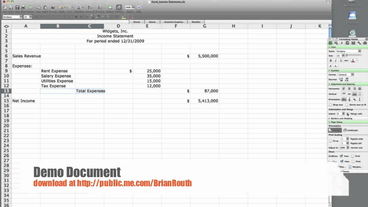 Excel Income Statement   Simple #1  Profit And Loss Statement Simple