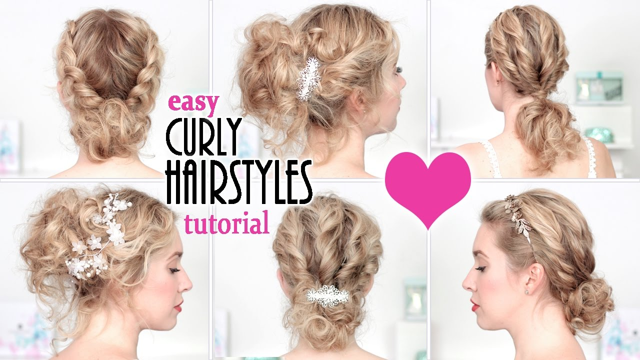 easy hairstyles for back to school, everyday, party ★ quick curly updo for short/medium long hair