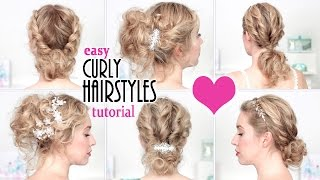 Easy hairstyles for New Year's eve party, holidays ★ Quick curly updo for short/medium long hair