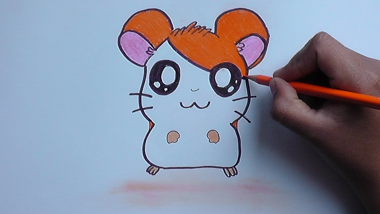 C mo dibujar y pintar a hamtaro how to draw and paint for Como pintar una rosa paso a paso