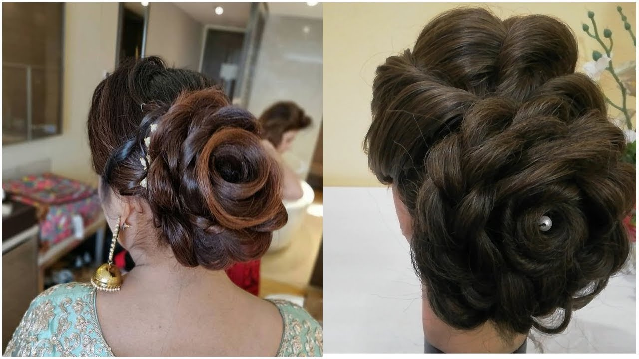 Large Flower Low Bun Hairstyle For Reception Party Easy