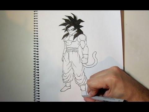 How To Draw Goku Ssj4 Full Body Step By Step Youtube