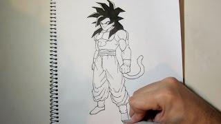 How to draw Goku ssj4 full body step by step