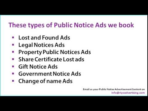 Public, Legal, Lost & found Notice Newspaper Ads Online in Bangalore Newspapers
