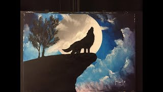 "how to paint a wolf with a moon (acrylic) ""wolf moon"""