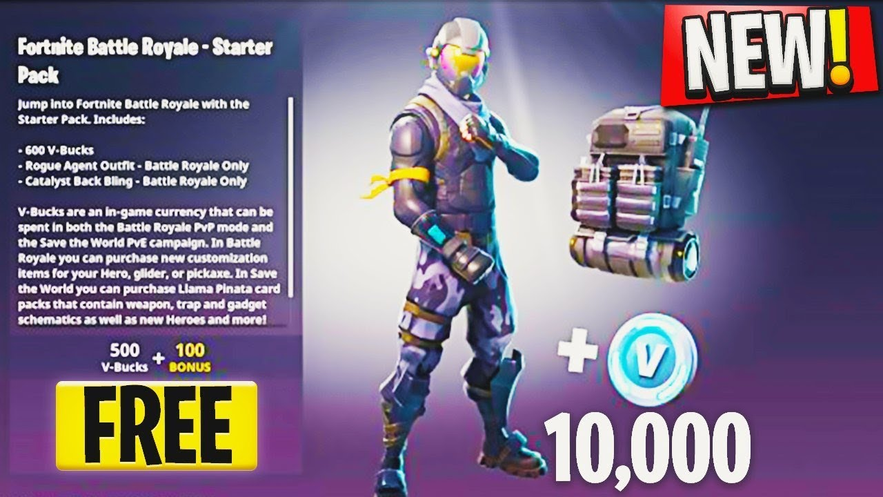 how to get free starter pack new rogue agent skin update fortnite battle royale new starter pack - when is the next starter pack for fortnite