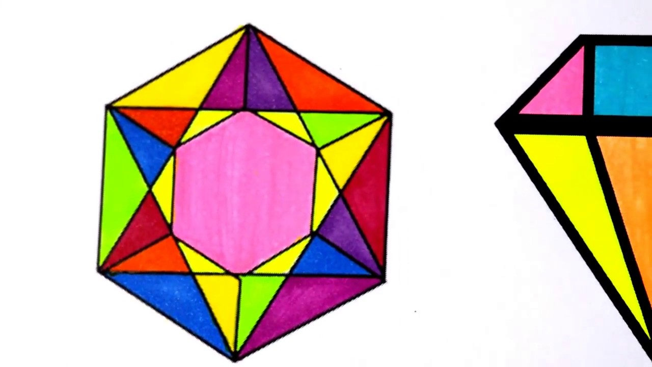 colours for kids crystals jems diamond coloring pages l how to color drawing pages l learn colors