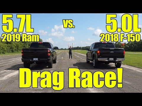 2019 Ram 1500 5.7L vs 2018 Ford F150 5.0L Drag Race!