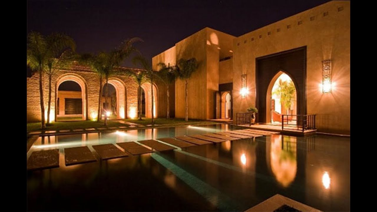 Moroccan palace moroccan architecture style youtube for Luxury exterior lighting