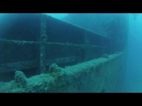 Majorca wreck dive, cargo ship. Palma harbour