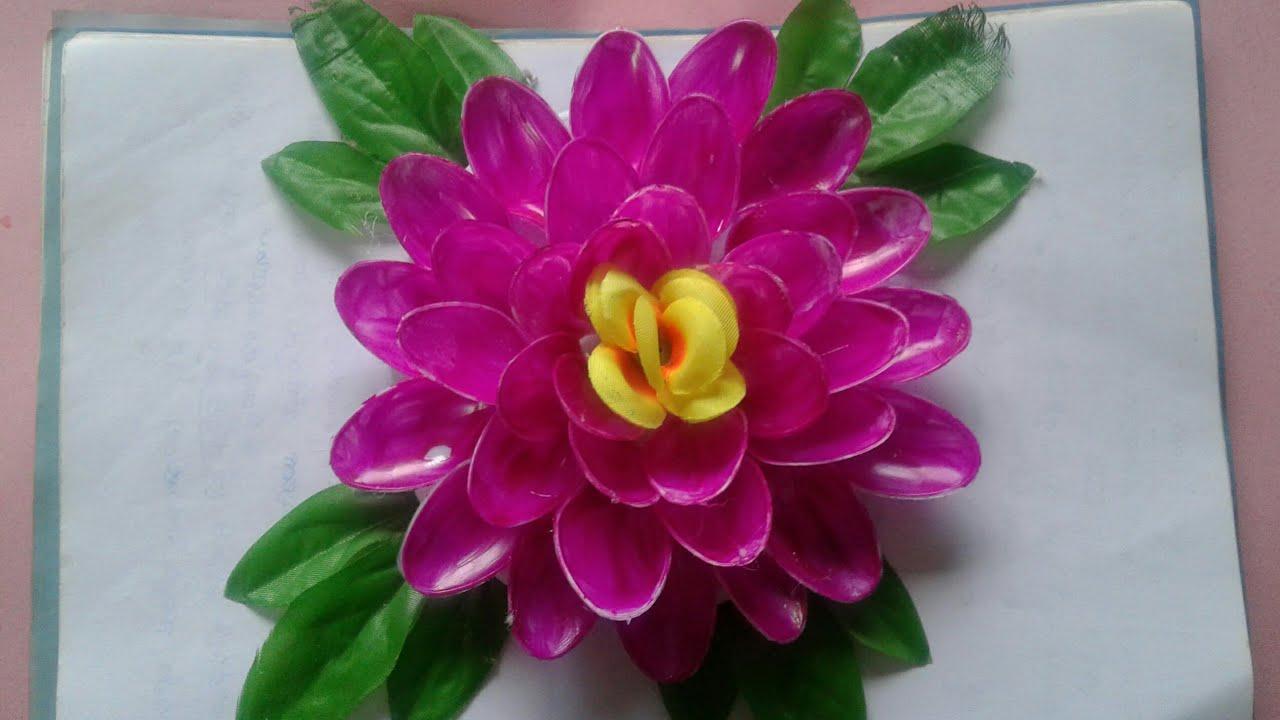 Diy Lotus Flower Waste Material Reuse Idea Plastic Spoon