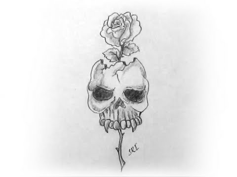 How to draw a skull with rose pencil drawing and s yzarts yzarts youtube
