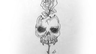 How to draw A skull with rose Pencil Drawing and s