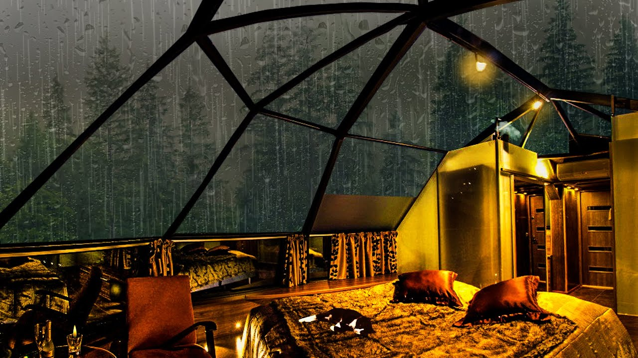 Listening to the Falling Rain and Fall Asleep Peacefully in This Cozy Room. Amazing!