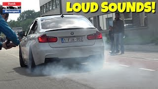 Cars Arriving Cars & Coffee Dordrecht 2017! - BURNOUTS & LOUD Sounds!