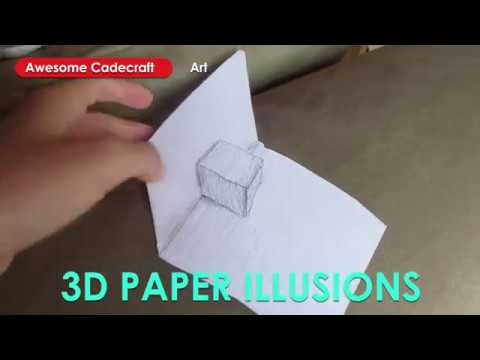 3d Folded Paper Illusion Drawing - Flat Folded Paper, Flat 3d Cup, and Folded Cube