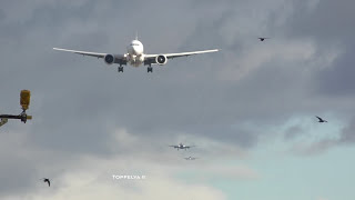 Airplanes lined up for landing at London Heathrow airport time lapse video