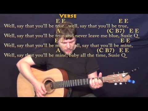 Suzie Q (CCR) Strum Guitar Cover Lesson with Chords/Lyrics