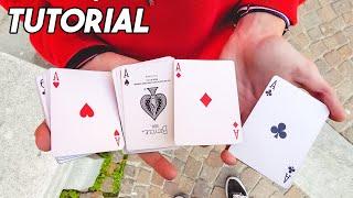 Tutorial: come far apparire ISTANTANEAMENTE 4 assi! /spiegazione gioco di magia con le carte