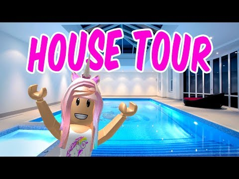 MY INDOOR SWIMMING POOL Roblox MANSION HOUSE TOUR in Bloxburg