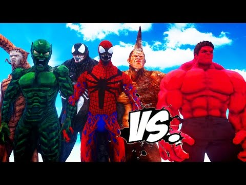 RED HULK VS SPIDERMAN ENEMIES - VENOM, CARNAGE, GREEN GOBLIN, SCORPION, RHINO VS RED HULK