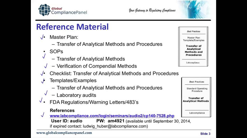 transfer of analytical methods and procedures fda requirements and strategies