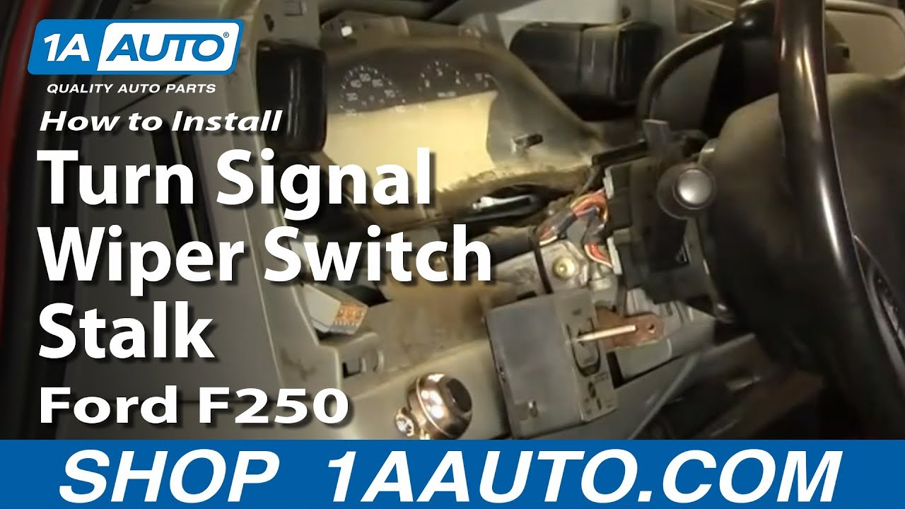 How To Install Replace Turn Signal Wiper Switch Stalk Ford F250 1993 Super Duty Wiring Diagram 02 07 1aautocom Youtube